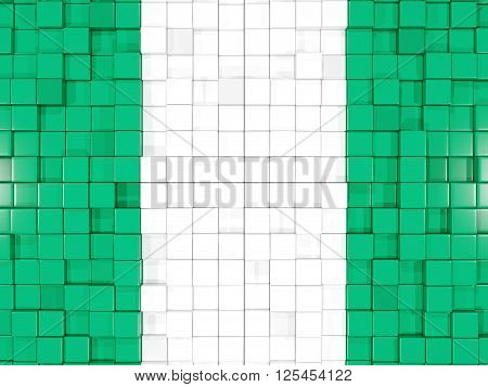 Background With Square Parts. Flag Of Nigeria. 3D Illustration