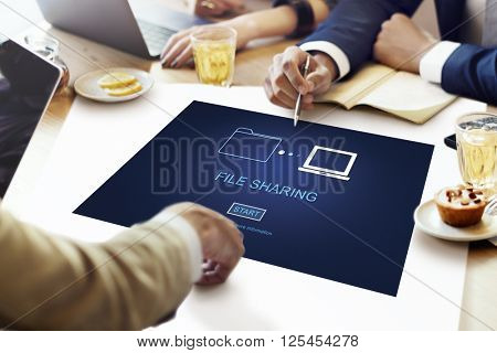 File Sharing Data Information Social Networking Concept