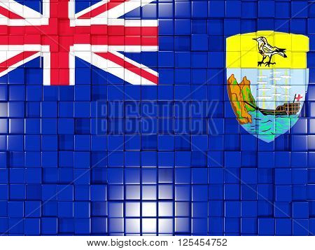 Background With Square Parts. Flag Of Saint Helena. 3D Illustration
