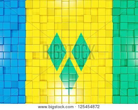 Background With Square Parts. Flag Of Saint Vincent And The Grenadines. 3D Illustration