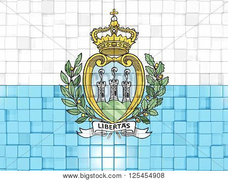 Background With Square Parts. Flag Of San Marino. 3D Illustration