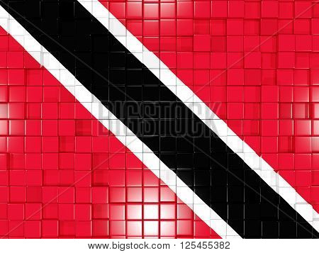 Background With Square Parts. Flag Of Trinidad And Tobago. 3D Illustration
