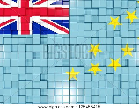 Background With Square Parts. Flag Of Tuvalu. 3D Illustration