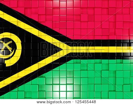 Background With Square Parts. Flag Of Vanuatu. 3D Illustration