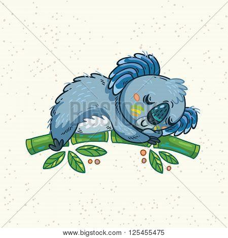 Australian Koala Bear sleeping on the tree. Vector kid illustration. Art print