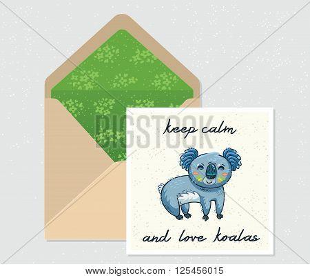 Keep calm and love koalas. Open envelope and card with cute Australian Koala Bear. Printable Vector Template. Card and envelope design.