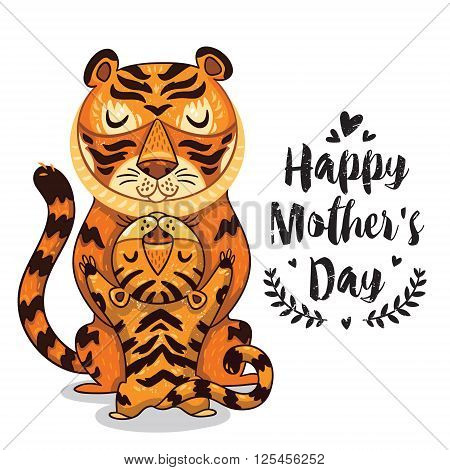 Happy mothers day card in cartoon style with tigers. Greeting card for mom with cute animals. Baby and mother together. Vector illustration.