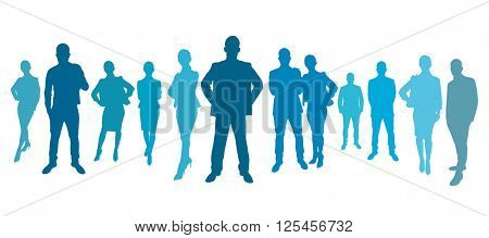 Business team group with business people as a silhouette