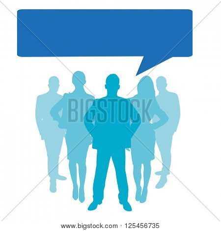Business people as a silhouette with speech bubble