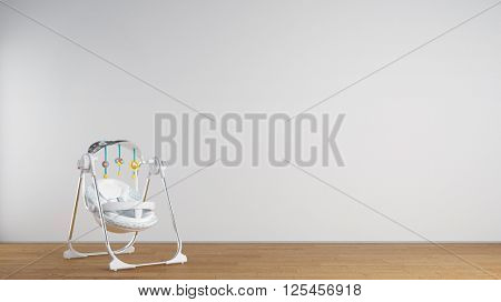 Baby bouncer in nursery room in front of a wall (3D Rendering)