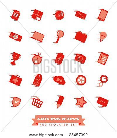 Fast Moving Icons Collection. Set of red web and business icons with speed streaks