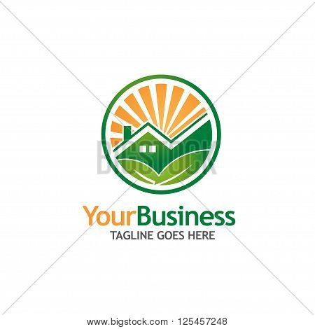 green house building logo. Ecology Nature logo.