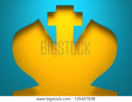 Chess king silhouette key hole. 3D rendering