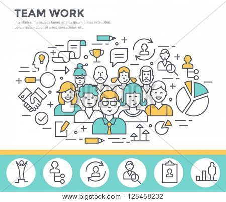 Team work concept illustration thin line flat design