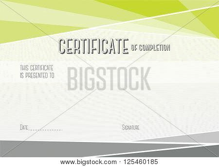 Horizontal Modern Certificate of completion. EPS10 vector template