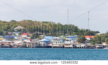 Small beach city in Chonburi Thailand called 'Samae San' which having main business in fishing in the gulf of Thailand.