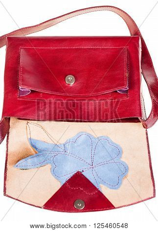 Open Cherry Color Handbag Decorated By Flower