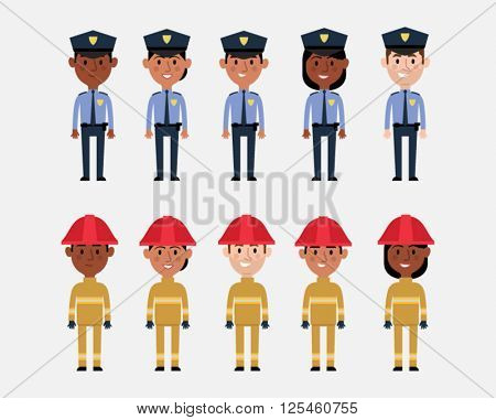 Illustrations Of Occupations In USA Police And Fire Services