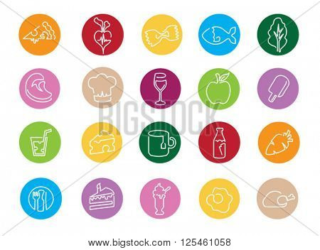 Illustration Of Icons Related To Food, Drink And Diet