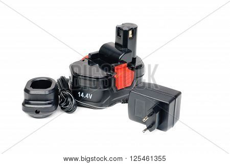 Black Screwdriver Battery and power supply unit isolated on white background