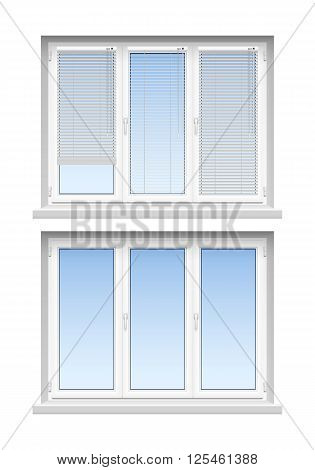 Modern classic white jalousies for home decoration and remodeling  2 realistic louvers windows icons set vector illustration