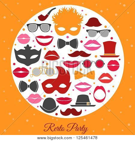 Retro party invitation with colorful decorative icons set of masquerade costume attributes in white circle in vintage style flat vector illustration