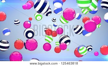 Colorful Flying Balls In The Space