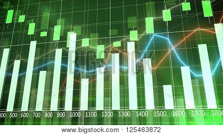 Bar Graph Against A Green Background. Abstraction