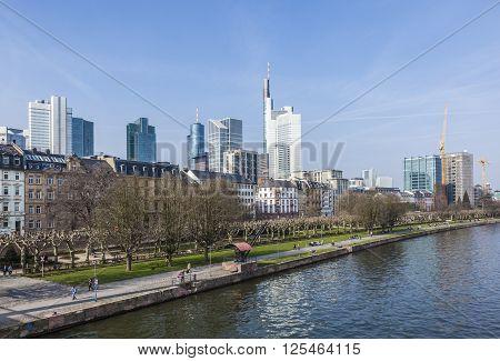 Skyline Of Frankfurt Am Main  With Skyscraper