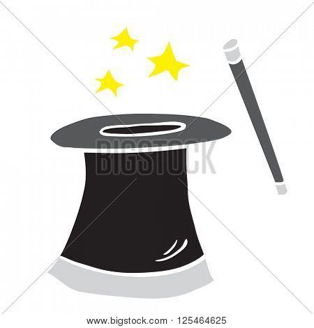 freehand drawn cartoon magician's top hat illustration