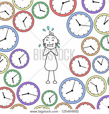 Cartoon stressed stick man surrounded by clocks