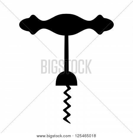 Wine corkscrew ( shade picture ) on white background