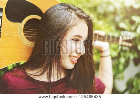 Guitar Casual Cheerful Chilling Music Instrument Concept