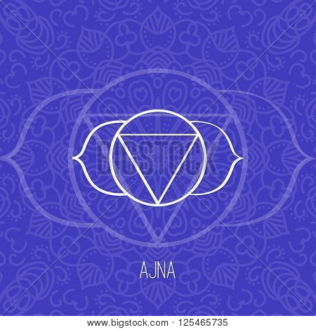 Lines geometric illustration of one of the seven chakras - Ajna on the dark blue background the symbol of Hinduism Buddhism. Hand painted mandala texture. For design associated with yoga and India.