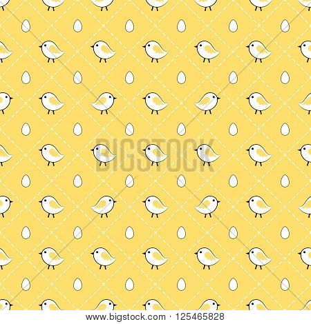 Cute chicks and eggs seamless pattern design