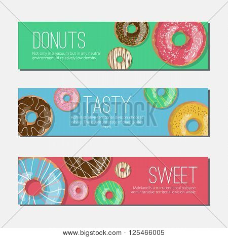 Set of three bright tasty vector banners donuts illustration on the green blue and red backgrounds. Doughnut banners in cartoon style for donuts menu in cafe and shop.