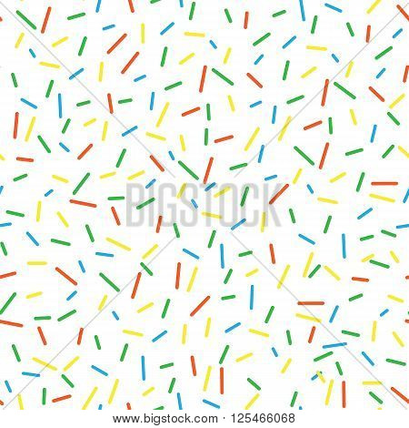 Seamless pattern bright tasty vector donuts sprinkles background. Doughnut background in cartoon style for donuts menu in cafe and shop.