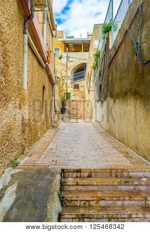 The best way to discover the old town is to get lost in maze of sterrts lanes and staircases Nazeret Israel.