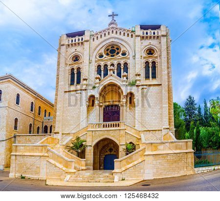 The Selesian Church of Jesus the Adolescent is one of the most notable landmarks of the Nazareth and seen from every point in old town Israel.