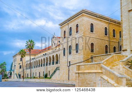 The frontage of the Don Bosco vocational high school in Nazareth Israel.