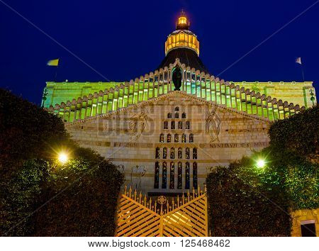 The view on the main landmark of the city the Basilica of the Annunciation in evening illumination