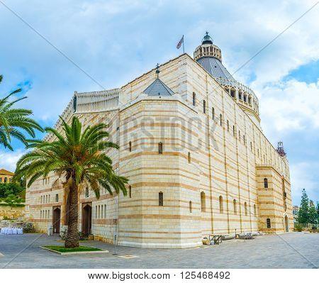 Basilica of the Annunciation is the largest church in the Middle East and on of the Christian's world most holy shrines Nazareth Israel.