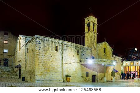 NAZARETH ISRAEL - FEBRUARY 21 2016: The St. Gabriel's Church is the main Greek Orthodox church and one of the main pilgrimage sites of the city on February 21 in Nazareth.
