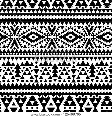 geometric abstract seamless pattern ethnic style in black and white