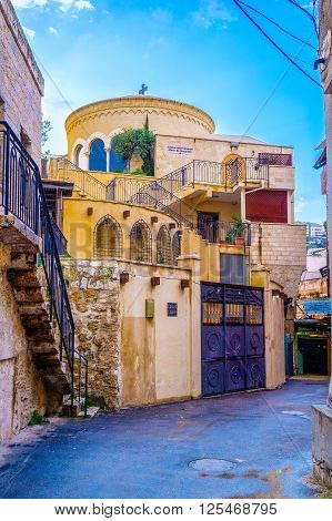 NAZARETH ISRAEL - FEBRUARY 21 2016: The beautiful building of International centre Mary of Nazareth located in the centre of the old city on February 2 in Nazareth Israel.