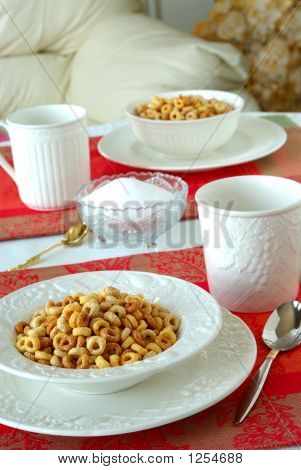 Breakfast Bowls Of Cereal On A Pretty Table In The Morning