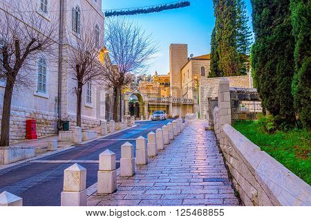 Sunday is the day off in the Nazareth and streets of the city are absolutely empty Israel.
