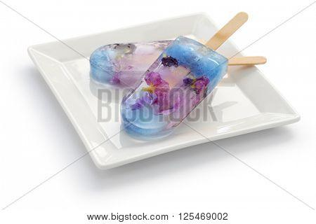 homemade edible flower ice pop, popsicle