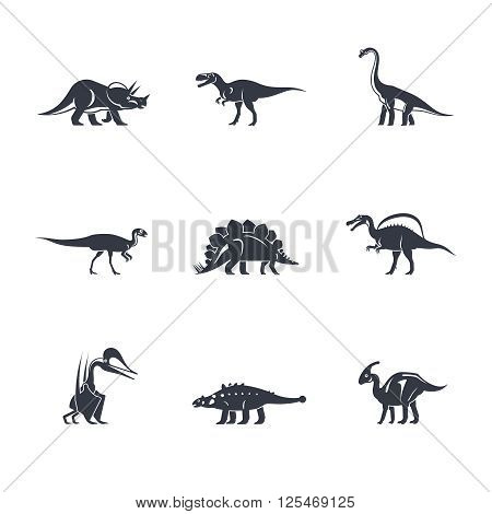 Dino icons set. Dinosaurs black silhouettes on white background. Vector illustration