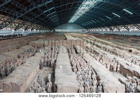Xian China - October 16 2013: Army of the Warriors near Xian in China.